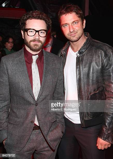 Actor Danny Masterson and actor Gerard Butler attend the after party for the premiere of Warner Bros Pictures' 'Yes Man' on December 17 2008 in Los...