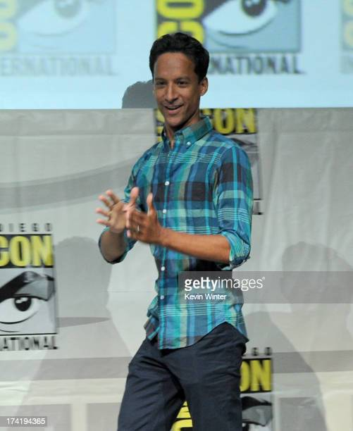 Actor Danny Pudi speaks onstage at the 'Community' celebrating the fans during ComicCon International 2013 at San Diego Convention Center on July 21...