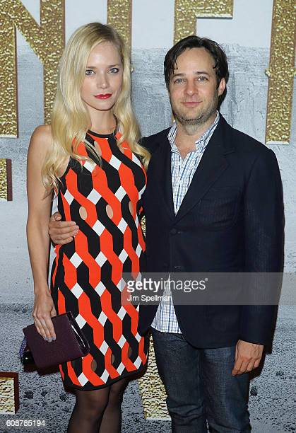 Actor Danny Strong and Caitlin Mehner attend the 'The Magnificent Seven' New York premiere at Museum of Modern Art on September 19 2016 in New York...