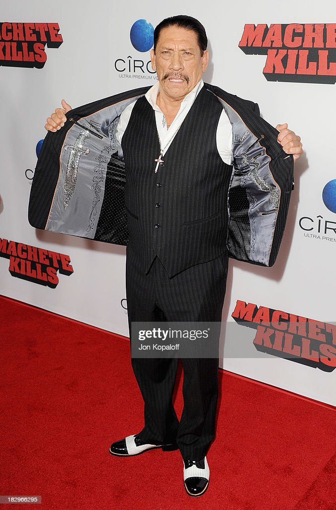 Actor <a gi-track='captionPersonalityLinkClicked' href=/galleries/search?phrase=Danny+Trejo&family=editorial&specificpeople=2187220 ng-click='$event.stopPropagation()'>Danny Trejo</a> arrives at the Los Angeles Premiere 'Machete Kills' at Regal Cinemas L.A. Live on October 2, 2013 in Los Angeles, California.