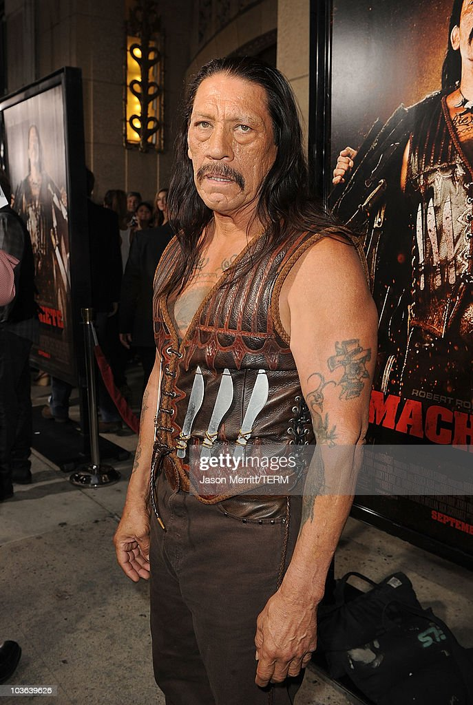 Actor Danny Trejo arrives at the Los Angeles screening of 'Machete' at Orpheum Theatre on August 25 2010 in Los Angeles California