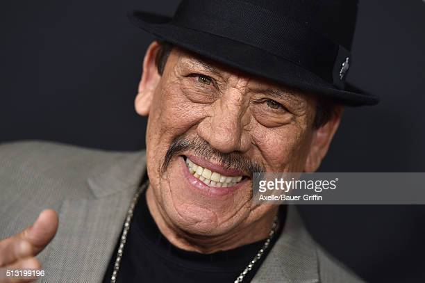 Actor Danny Trejo arrives at the premiere of Open Road's 'Triple 9' at Regal Cinemas LA Live on February 16 2016 in Los Angeles California