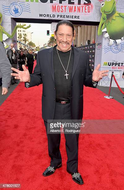 Actor Danny Trejo arrives at the world premiere of Disney's 'Muppets Most Wanted' at the El Capitan Theatre on March 11 2014 in Hollywood California