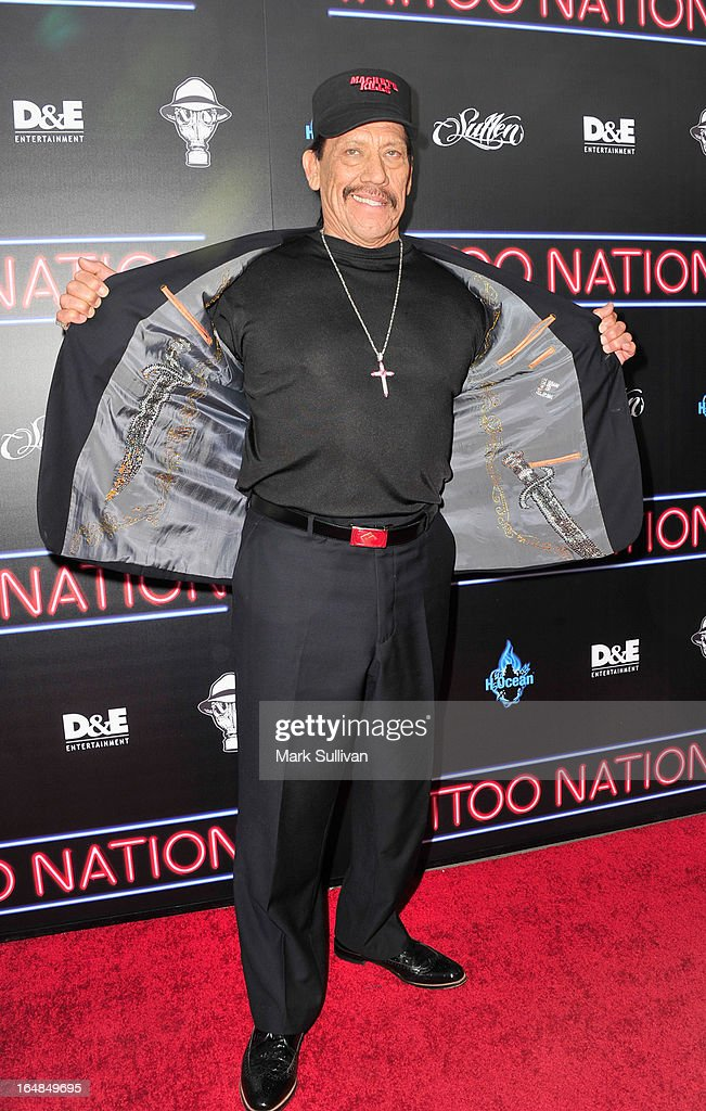Actor Danny Trejo attends the premiere of 'Tattoo Nation' at ArcLight Cinemas on March 28, 2013 in Hollywood, California.