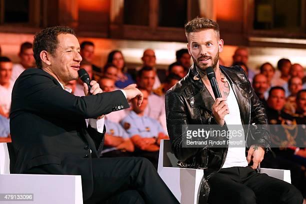 Actor Dany Boon and Singer M Pokora attend 'Une Nuit avec la Police et la Gendarmerie' France 2 TV Show Held at Ministere de l'Interieur in Paris on...