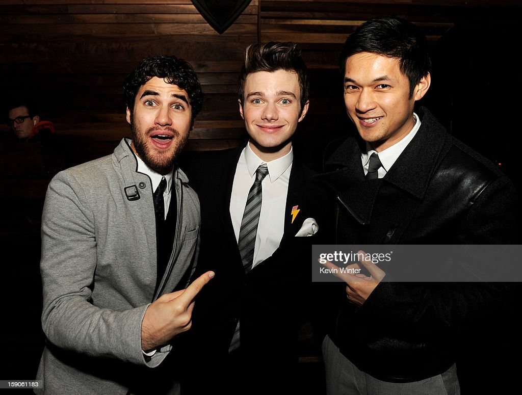 Actor <a gi-track='captionPersonalityLinkClicked' href=/galleries/search?phrase=Darren+Criss&family=editorial&specificpeople=7341435 ng-click='$event.stopPropagation()'>Darren Criss</a>, actor/producer/writer <a gi-track='captionPersonalityLinkClicked' href=/galleries/search?phrase=Chris+Colfer&family=editorial&specificpeople=5662110 ng-click='$event.stopPropagation()'>Chris Colfer</a> and actor Harry Shum, Jr. pose at the after party for a screening of Tribeca Film's 'Struck By Lightning' at Eden on January 6, 2013 in Los Angeles, California.