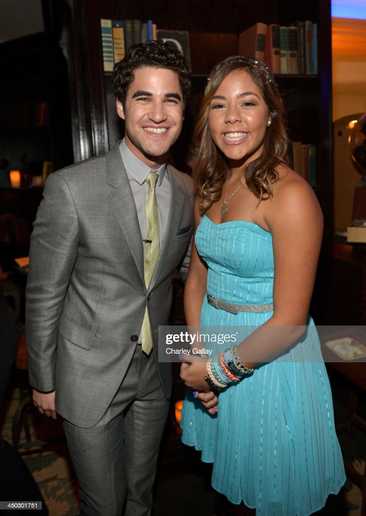 Actor <a gi-track='captionPersonalityLinkClicked' href=/galleries/search?phrase=Darren+Criss&family=editorial&specificpeople=7341435 ng-click='$event.stopPropagation()'>Darren Criss</a> (L) and honoree Miranda Fuentes attend the 5th Annual TeenNick HALO Awards at Hollywood Palladium on November 17, 2013 in Hollywood, California.