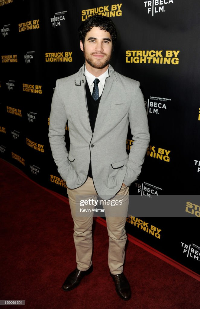 Actor Darren Criss arrives at a screening of Tribeca Film's 'Struck By Lightning' at the Chinese Cinema 6 Theaters on January 6, 2013 in Los Angeles, California.
