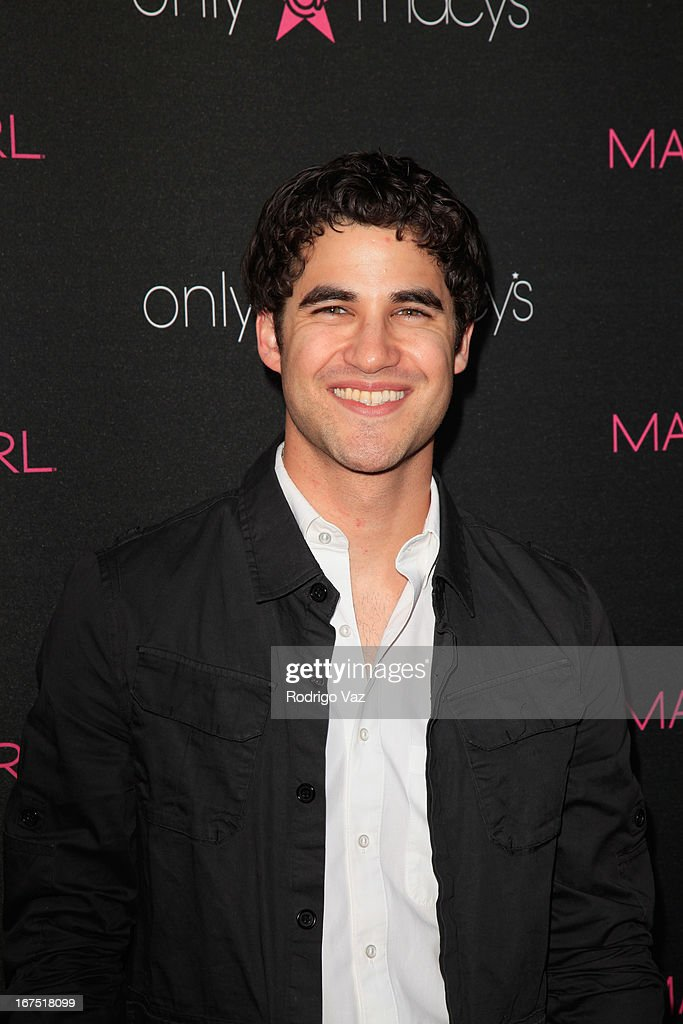 Actor <a gi-track='captionPersonalityLinkClicked' href=/galleries/search?phrase=Darren+Criss&family=editorial&specificpeople=7341435 ng-click='$event.stopPropagation()'>Darren Criss</a> arrives at Madonna's Fashion Evolution Pop-Up Exhibition at Macy's Westfield Century City on April 25, 2013 in Century City, California.