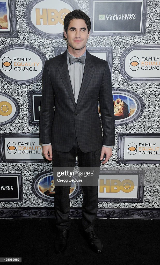 Actor <a gi-track='captionPersonalityLinkClicked' href=/galleries/search?phrase=Darren+Criss&family=editorial&specificpeople=7341435 ng-click='$event.stopPropagation()'>Darren Criss</a> arrives at the Family Equality Council's Annual Los Angeles Awards Dinner at The Globe Theatre on February 8, 2014 in Universal City, California.