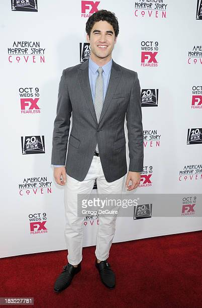Actor Darren Criss arrives at the Los Angeles premiere of FX's 'American Horror Story Coven' at Pacific Design Center on October 5 2013 in West...