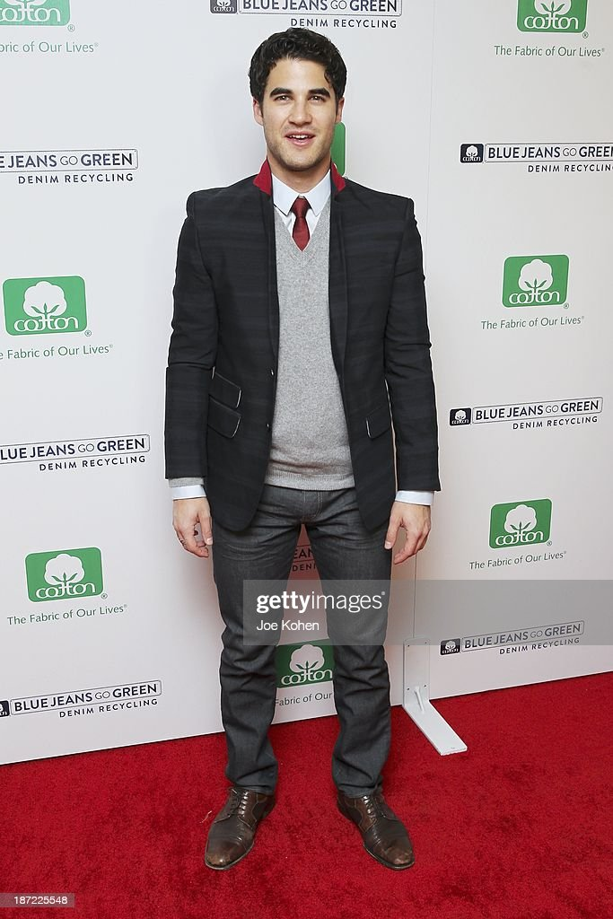 Actor <a gi-track='captionPersonalityLinkClicked' href=/galleries/search?phrase=Darren+Criss&family=editorial&specificpeople=7341435 ng-click='$event.stopPropagation()'>Darren Criss</a> attends Blue Jeans go green celebrates 1 Million pieces of denim collected for recycling hosted by Miles Teller at SkyBar at the Mondrian Los Angeles on November 6, 2013 in West Hollywood, California.