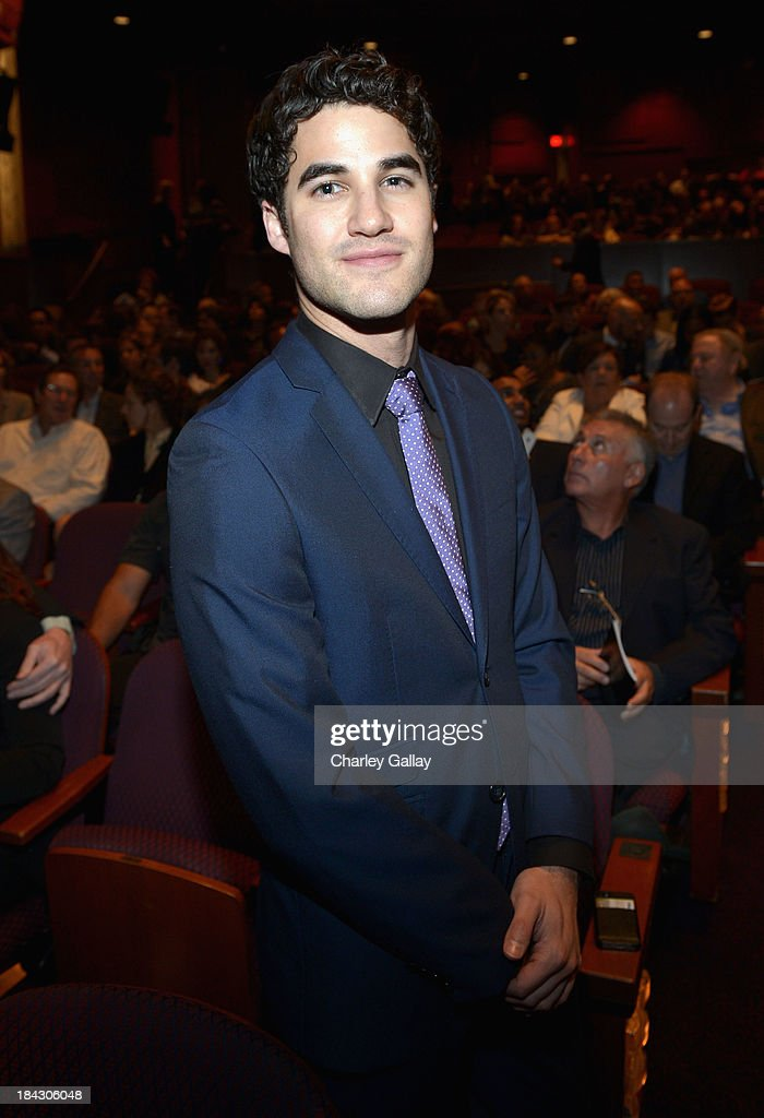 Actor <a gi-track='captionPersonalityLinkClicked' href=/galleries/search?phrase=Darren+Criss&family=editorial&specificpeople=7341435 ng-click='$event.stopPropagation()'>Darren Criss</a> attends 'Hugh Jackman... One Night Only' Benefiting MPTF at Dolby Theatre on October 12, 2013 in Hollywood, California.