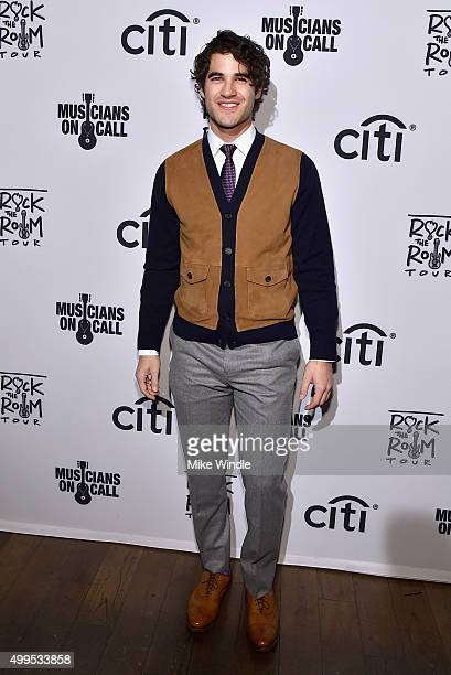 Actor Darren Criss attends Musicians On Call Rock The Room Tour at Greystone Manor on December 1 2015 in West Hollywood California Musicians On Call...