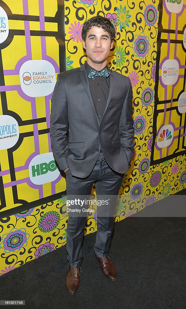 Actor <a gi-track='captionPersonalityLinkClicked' href=/galleries/search?phrase=Darren+Criss&family=editorial&specificpeople=7341435 ng-click='$event.stopPropagation()'>Darren Criss</a> attends the Family Equality Council LA Awards Dinner at The Globe Theatre at Universal Studios on February 9, 2013 in Universal City, California.