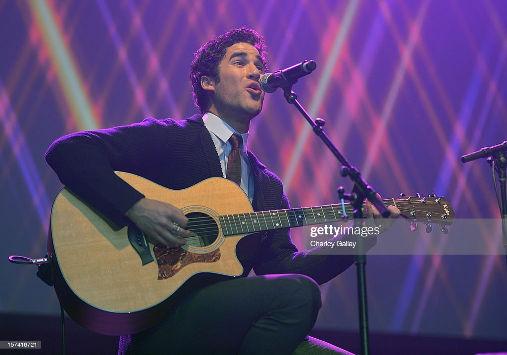 Actor <a gi-track='captionPersonalityLinkClicked' href=/galleries/search?phrase=Darren+Criss&family=editorial&specificpeople=7341435 ng-click='$event.stopPropagation()'>Darren Criss</a> performs onstage at 'Trevor Live' honoring Katy Perry and Audi of America for The Trevor Project held at The Hollywood Palladium on December 2, 2012 in Los Angeles, California.
