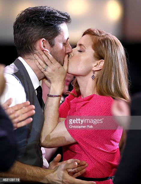 Actor Darren Le Gallo and actress Amy Adams attend the 19th Annual Critics' Choice Movie Awards at Barker Hangar on January 16 2014 in Santa Monica...