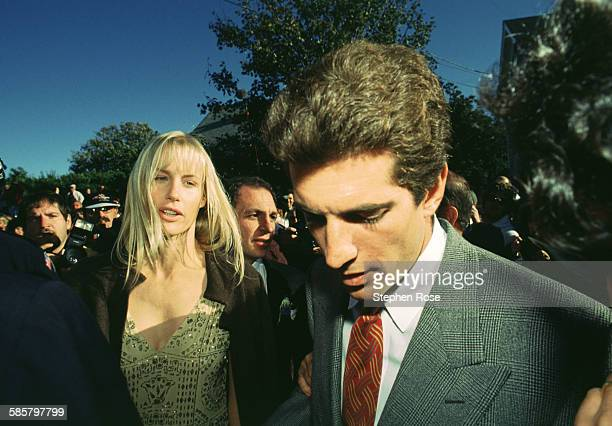 Actor Daryl Hannah with former boyfriend John F Kennedy Jr at Edward Kennedy Jr's wedding on Block Island Rhode Island 10/10/93