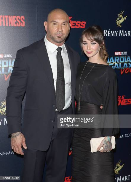 Actor Dave Bautista and dancer Sarah Jade attend the screening of Marvel Studios' 'Guardians Of The Galaxy Vol 2' hosted by The Cinema Society at the...