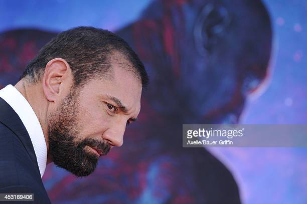 Actor Dave Bautista arrives at the Los Angeles premiere of 'Guardians Of The Galaxy' at the El Capitan Theatre on July 21 2014 in Hollywood California