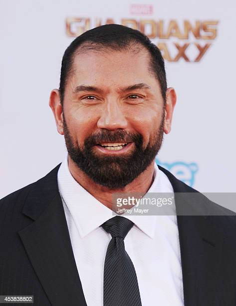 Actor Dave Bautista arrives at the Los Angeles premiere of Marvel's 'Guardians Of The Galaxy' at the El Capitan Theatre on July 21 2014 in Hollywood...