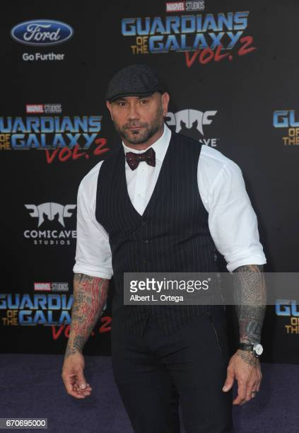 Actor Dave Bautista arrives for the Premiere Of Disney And Marvel's 'Guardians Of The Galaxy Vol 2' held at Dolby Theatre on April 19 2017 in...