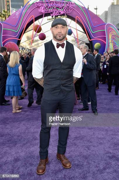Actor Dave Bautista at the premiere of Disney and Marvel's 'Guardians Of The Galaxy Vol 2' at Dolby Theatre on April 19 2017 in Hollywood California