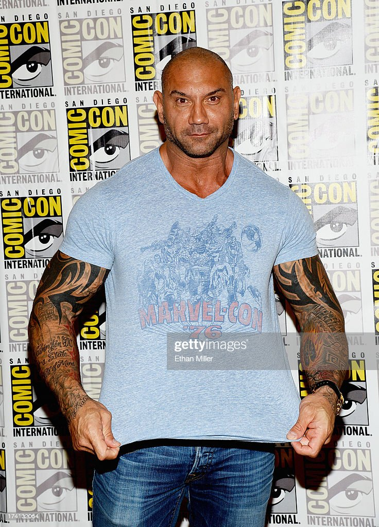 Actor Dave Bautista attends Marvel's 'Guardians of The Galaxy' press line during Comic-Con International 2013 at the Hilton San Diego Bayfront Hotel on July 20, 2013 in San Diego, California.