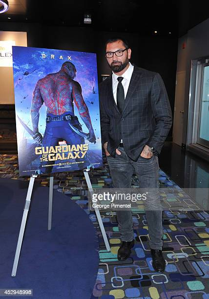 Actor Dave Bautista attends Marvel's 'Guardians Of The Galaxy' Toronto advanced special screening at Scotiabank Theatre on July 30 2014 in Toronto...