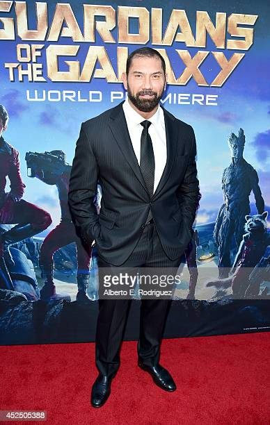 """Actor Dave Bautista attends the after party for The World Premiere of Marvel's epic space adventure """"Guardians of the Galaxy"""" directed by James Gunn..."""