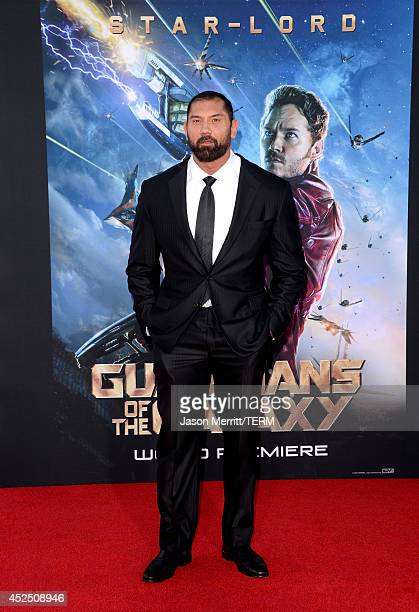 Actor Dave Bautista attends the premiere of Marvel's 'Guardians Of The Galaxy' at the Dolby Theatre on July 21 2014 in Hollywood California