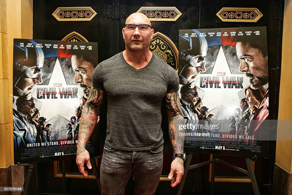 Actor Dave Bautista Guardians of the Galaxy attends 'Captain America Civil War' Screening at the Fox Theatre on May 1 2016 in Atlanta Georgia
