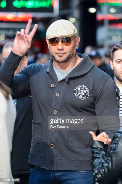Actor Dave Bautista leaves the 'Good Morning America' taping at the ABC Times Square Studios on May 04 2017 in New York City