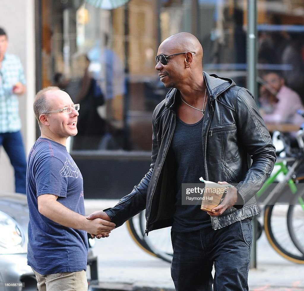 Actor <a gi-track='captionPersonalityLinkClicked' href=/galleries/search?phrase=Dave+Chappelle&family=editorial&specificpeople=214548 ng-click='$event.stopPropagation()'>Dave Chappelle</a> is sighted in Soho on September 12, 2013 in New York City.