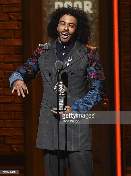 Actor Daveed Diggs accepts the award onstage for Best Performance by an Actor in a Featured Role in a Musical for his work in Hamilton during the...