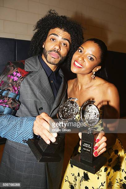 Actor Daveed Diggs poses with his award for Best Performance by an Actor in a Featured Role in a Musical for 'Hamilton' with actress Renee Elise...