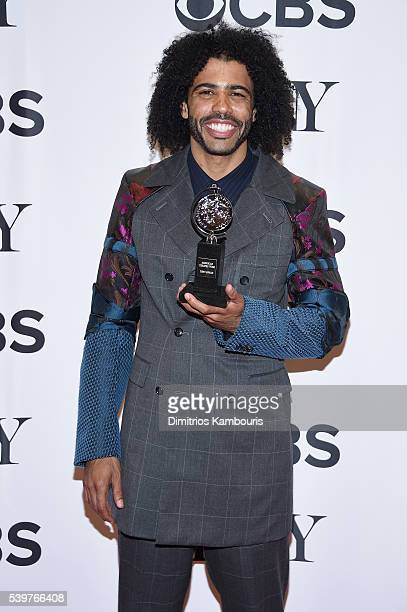 Actor Daveed Diggs poses with the award for Best Performance by a Featured Actor in a Musical during the 70th Annual Tony Awards at The Beacon...