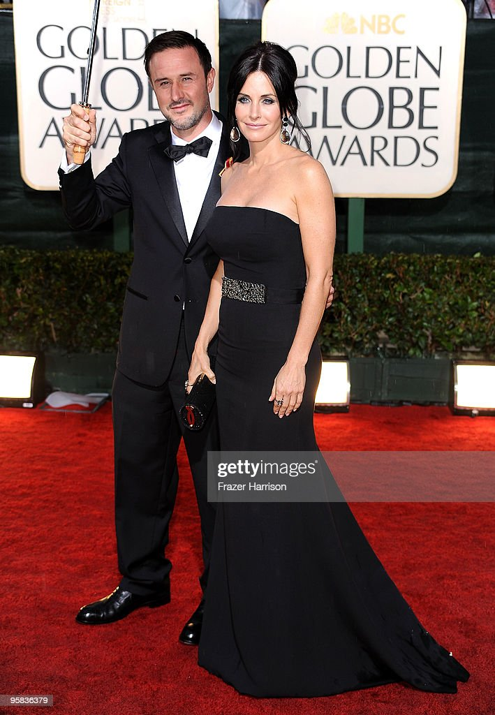 Actor David Arquette and actress Courteney CoxArquette arrive at the 67th Annual Golden Globe Awards held at The Beverly Hilton Hotel on January 17...