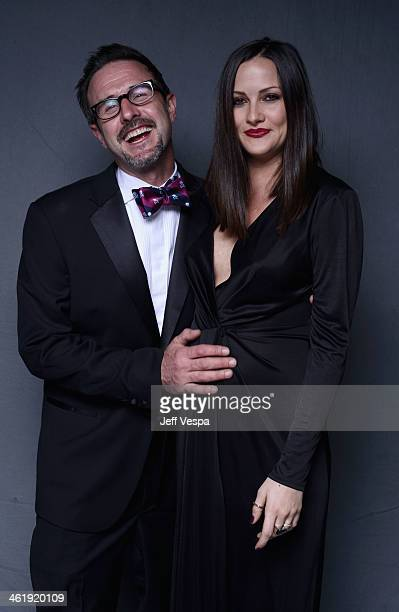 Actor David Arquette and Christina McLarty pose for a Wonderwall portrait at The Art of Elysium's 7th Annual HEAVEN Gala presented by MercedesBenz at...