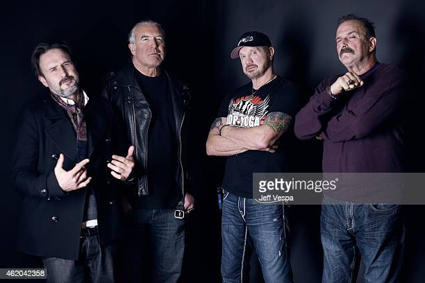 Actor David Arquette and wrestlers Scott Hall Diamond Dallas Page and Jake 'The Snake' Roberts from 'The Resurrection of Jake The Snake Roberts' pose...
