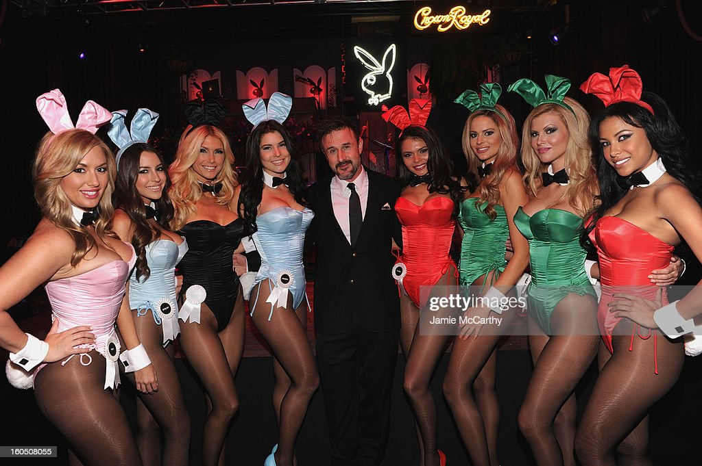 Actor <a gi-track='captionPersonalityLinkClicked' href=/galleries/search?phrase=David+Arquette&family=editorial&specificpeople=201740 ng-click='$event.stopPropagation()'>David Arquette</a> (C) poses with Playboy Playmates at The Playboy Party Presented by Crown Royal on February 1, 2013 in New Orleans, Louisiana.