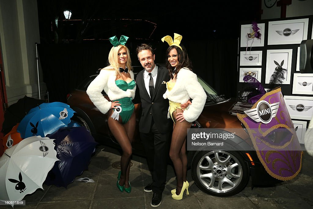 Actor <a gi-track='captionPersonalityLinkClicked' href=/galleries/search?phrase=David+Arquette&family=editorial&specificpeople=201740 ng-click='$event.stopPropagation()'>David Arquette</a> poses with Playboy Playmates at The Playboy Party Presented by Crown Royal on February 1, 2013 in New Orleans, Louisiana.