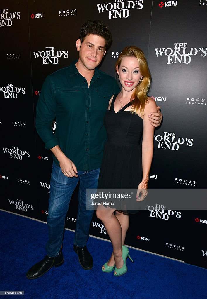 Actor David Blue (L) and Megan Lee Joy attend IGN And Focus Features Comic-Con 2013 Party Presented By The World's End at Float at Hard Rock Hotel San Diego on July 18, 2013 in San Diego, California.