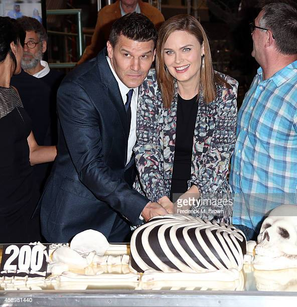 Actor David Boreanaz and actress Emily Deschanel cut the cake during Fox Celebrates 'Bones' 200th Episode at the Fox Studio Lot on November 14 2014...