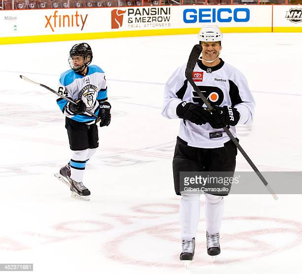 Actor David Boreanaz and son Jaden Boreanaz play a special hockey match with ComcastSpectacor Executives on Thanksgiving Day at Wells Fargo Center on...