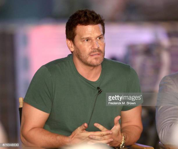 Actor David Boreanaz of 'Seal Team' speaks onstage during the CBS portion of the 2017 Summer Television Critics Association Press Tour at CBS Studio...