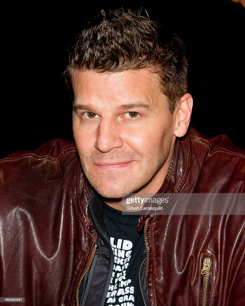 Actor David Boreanaz promotes Chrome Girl NHL Philadelphia Flyers team colors nail laquer during the welcoming of David Boreanaz as a celebrity co-chair to the 37th Flyers Wives Carnival at Wells Fargo Center on January 26, 2014 in Philadelphia, Pennsylvania.