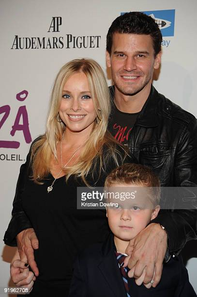Actor David Boreanaz wife Jaime Bergman and son Jayden Rayne Boreanaz arrive for the Cirque Du Solei Opening Night Gala For Kooza at the Santa Monica...