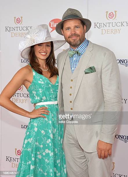 Actor David Denman and Mercedes Masohn celebrate the 139th Kentucky Derby with Moet Chandon at Churchill Downs on May 4 2013 in Louisville Kentucky