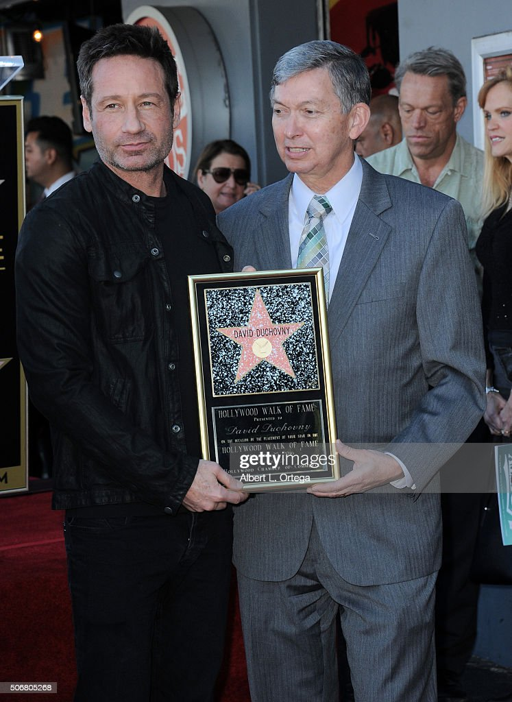 Actor David Duchovny and WOF CEO/President Leron Gubler at the Star On The Hollywood Walk Of Fame ceremony held on January 25 2016 in Hollywood...